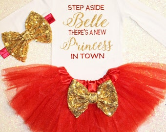 Disney princess outfit, beauty and the beast outfit, belle outfit, princess outfit, baby girl clothes, baby girl outfit, coming home outfit