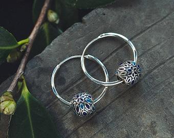 Handmade Silver earring ear stud original design earrings for women peacock blue eardrop