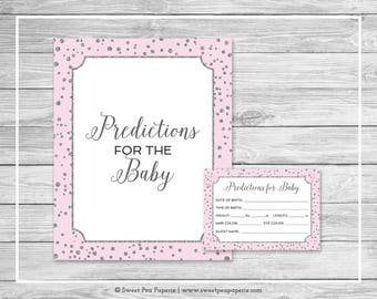 Pink and Silver Baby Shower Predictions for Baby - Printable Baby Shower Predictions for Baby - Pink and Silver Confetti Baby Shower - SP150