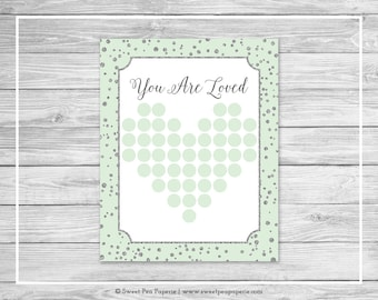 Mint and Silver Baby Shower Guest Book - Printable Baby Shower Guest Book - Mint and Silver Baby Shower - Baby Shower Guest Book - SP152
