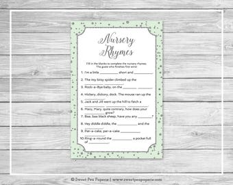 Mint and Silver Baby Shower Nursery Rhyme Game - Printable Baby Shower Nursery Rhyme Game - Mint and Silver Confetti Baby Shower - SP152