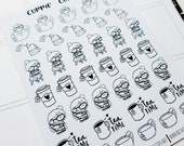 Cora - Tea | mid size monochrome character / action | Planner stickers