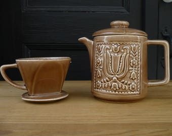 Ceramic Coffee Pot with Matching Ceramic Drip/Pour-Over