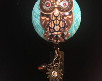 Amber Owl-Nurse Retractable ID Badge Reel/ RN Badge Holder/Doctor Badge Reel/Nurse Badge Holder/Nursing Student Gifts