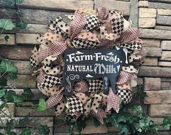 Farmhouse Wreath, Primitive Wreath, Burlap Wreath, Rustic Wreath, Country Cottage Wreath, Shabby Chic Wreath, Farmhouse Decor, Home Decor