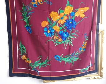 Bellodgia Caron 70s floral silk scarf, burgundy silk scarf, retro scarf with yellow and blue flowers