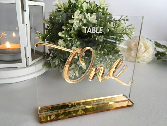 Wedding Table Numbers Calligraphy Gold Mirror Clear Acrylic Wedding Signs Modern Centerpieces Luxury Decorations Number Holders Engraved Tag
