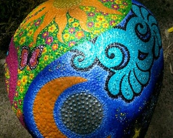 Dot Painting stones Day & Night lovingly hand painted river Pebble, weatherproof and UV resistant 25 cm diameter