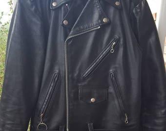 Vintage Leather Biker Jacket, The Leather Shop Jacket, Vintage Sears, Motorcycle, Riding Jacket, Black Leather Jacket