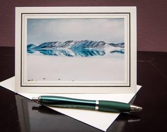 Bear Lake-Winter-Mountains-Snow-Greeting Card-Notecard-Nature-Water-Blue-White-Matted Art Print-Photo-Art-Gift-Home Office Decor-Travel-Utah