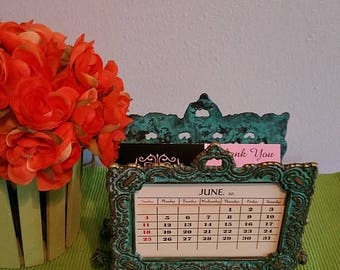 ON SALE Virginia Metalcrafters Perpetual Calendar Letter Holder. Heavy Brass with lovely Patina.