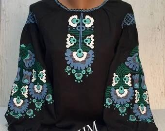 Embroidered Ukrainian Linen Blouse Vyshyvanka, Boho Linen Blouse
