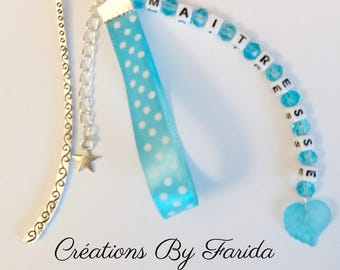 First name, customizable message turquoise bookmark