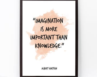 Albert Einstein, Albert Einstein Quote, Albert Einstein Art Watercolor Quote Poster, Imagination, Einstein Wall art, Inspirational quote,