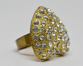 Large Gold tone heart ring