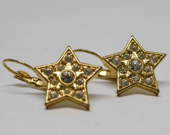 Gorgeous gold tone star earrings