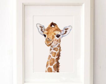 Giraffe portrait - Giclee -Safari Nursery Art - Baby Giraffe Print - Baby Animal Print - Zoo Nursery Print - African animal art