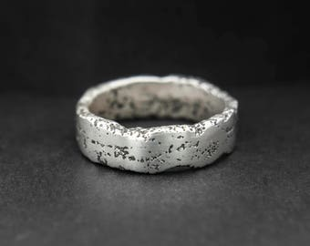Mens silver ring, rustic silver wedding band ring, manly ring, sandcast ring