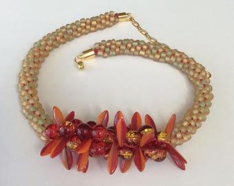 Kumihimo necklace, Boho jewellery, Hippie jewellery, Red yellow necklace, Boho necklace, Colourful necklace, Bright necklace, Beach necklace