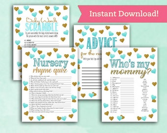 Baby Shower Game Pack Bundle Gender Neutral- Teal and Gold Hearts - Word Scramble - Advice for the Mom - Whos My Mommy - Nursery Rhyme Quiz