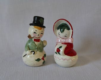 Vintage Mr and Mrs Snowman Salt and Pepper Shakers