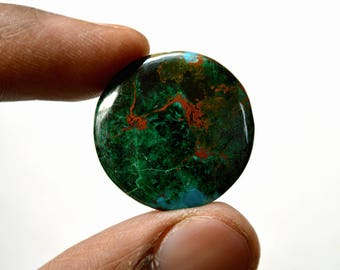 Chrysocolla 24.5 Cts AAA Quality Natural Gemstone Attractive Designer Round Shape Cabochon 24x24x4 MM R14387