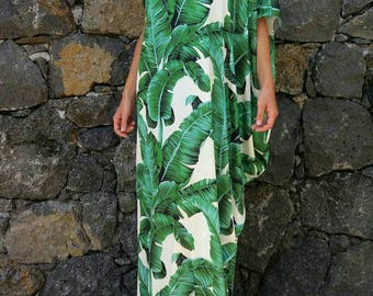 Banana leaf#satin#kaftan#dress#