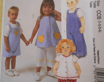 Toddlers Overalls, jumpsuit, top and pants  Pattern - Sizes 1-4 NOS