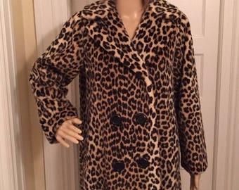 50off Vintage Dan Millstein faux fur leopard coat