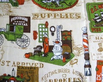 Vintage Country Store Fabric*1970's Advertising Fabric*Heavy Cotton*Stage Coach*Hair Cuts*Old Fashioned Grocery Store*Beige Background*OOP