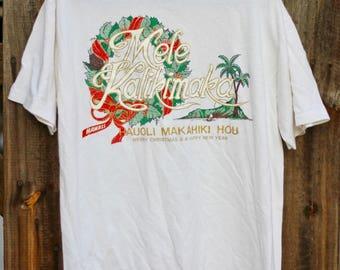 Vintage 1980's Mele Kalikimaka Hawaiian Christmas T shirt