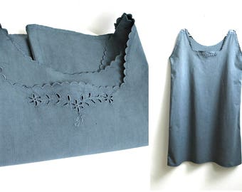 Vintage Nightgown Graphite Blue Cotton Large Linen Chemise Lingerie Night Gown Monogram GF Sleeveless Nightdress Embroidered Cutwork Eyelet