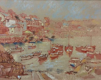 Signed M Menas Original Pastel and Ink Drawing  Coverack Harbour in Cornwall England