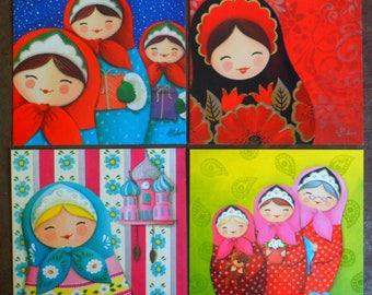 Set of 4 postcards in scrap art print on paper Polish. 14 X 14 Cm