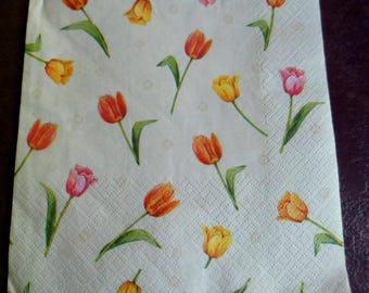 4 yellow, pink and orange tulips paper napkins