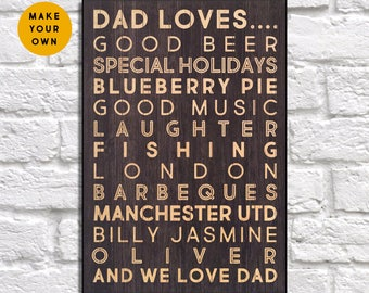 Gift for Fathers day gift Wood wall art Dad loves Dad Birthday gift for Men gift for Father gift for Dad gift for him Panel effect Wood sign