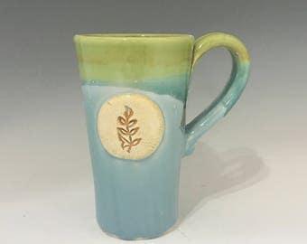 Valentine Leaf Pottery Coffee Mug - Green and Turquoise - Pottery Coffee Mug - Ceramic Mug - Oversized Mug - Handmade Mug - Pottery Mug -