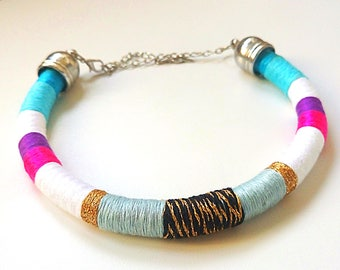 Rope Necklace, Nautical Sailing Necklace, Color Block Statement Necklace, Tribal Necklace, Modern necklace, Party Bling