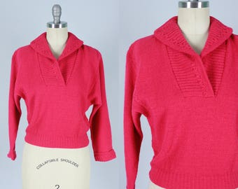 "Vintage 1940s Sweater | Bright Pink ""Lofties"" Sweater 