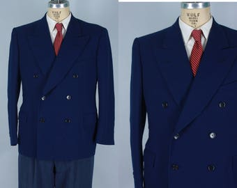 Vintage 1930s Sport Coat | 30s 40s Dark Blue Wool Peak Lapel Jacket | Size 42S