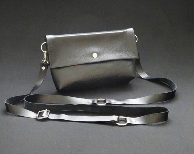 James Handbag - Black Gloss - Handmade Kangaroo Leather - James Watson