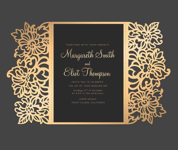 floral laser cut wedding invitation 5x7 gate fold card
