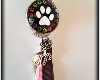 Double sided 'paws' and 'cat' handbag
