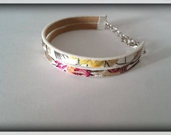 Bracelet adjustable White Leather _ patterns