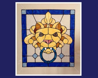 Lion decorative window cling for glass & window areas, reusable faux stained glass effect decal, static cling suncatcher decals