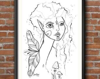 PRINT Fairy Goddess Girl portrait drawing