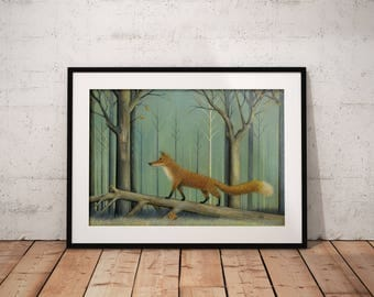 Fox Art Print - Wildlife Painting - Home and Nursery Decor - Gift Idea - Wall Art - Father's Day
