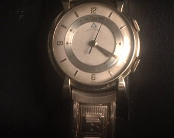 Vintage 10k Gold Watch Jaeger-LeCoultre Wrist Alarm from the 50's