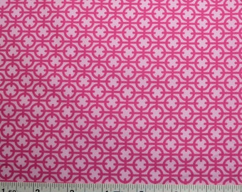 "FABRIC REMNANT - Bright Pink on Pink - Cufflink by Paula Prass for Michael Miller - 18"" x 21"" - Fat Quarter"