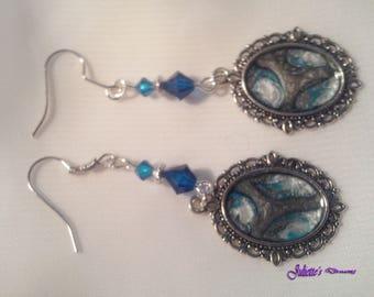 Earrings hand - painted blue